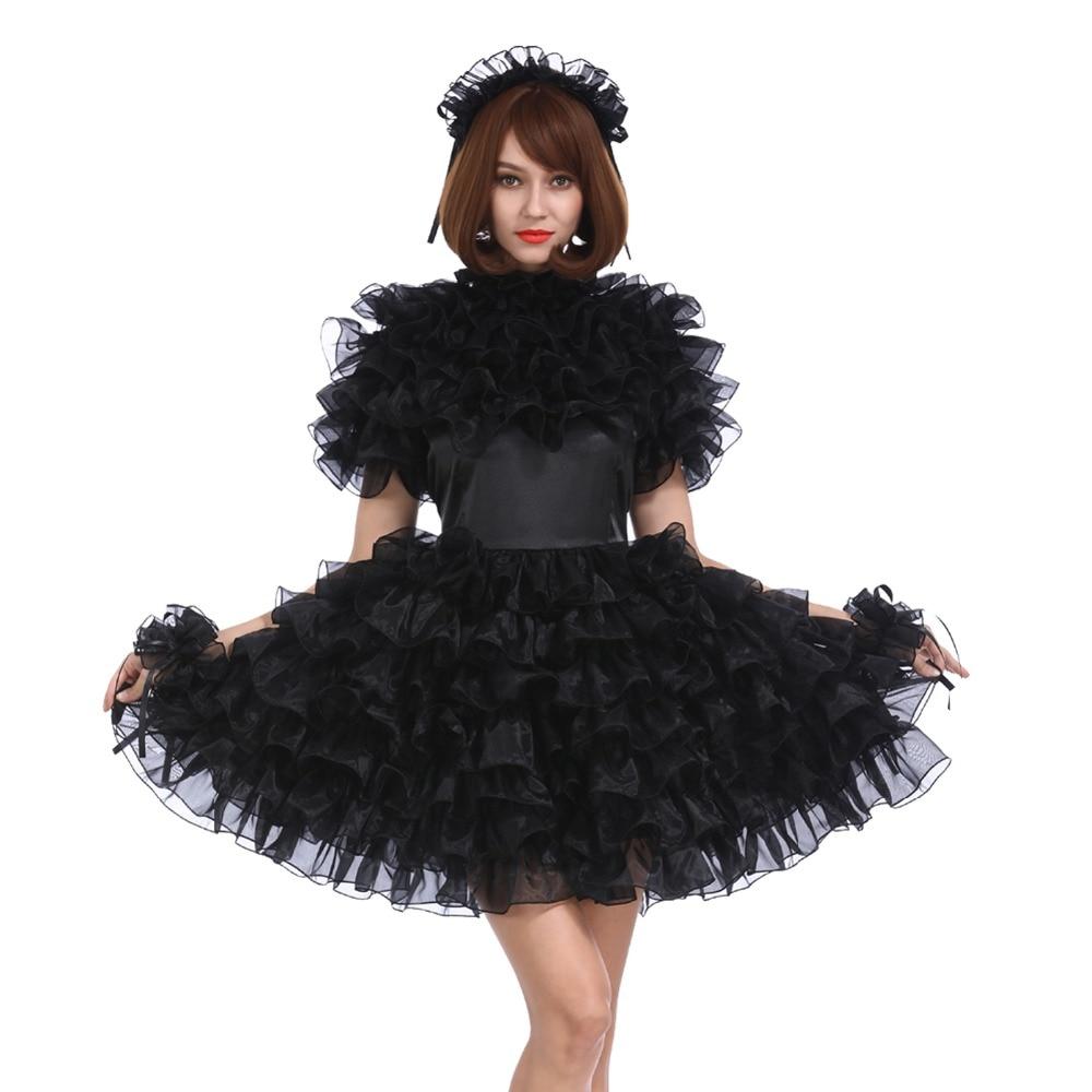 Sissy Girl Lockable Black Satin Organza Puffy Dress Uniform Crossdress Cosplay Costume