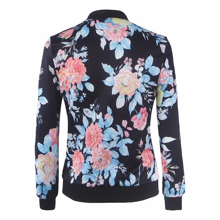 Kwiat Drukuj Kobiety Podstawowe Płaszcze Długim Rękawem Zipper Bomber Jacket Casual Kurtka Płaszcz Jesień Zima Streetwear sukajan 19