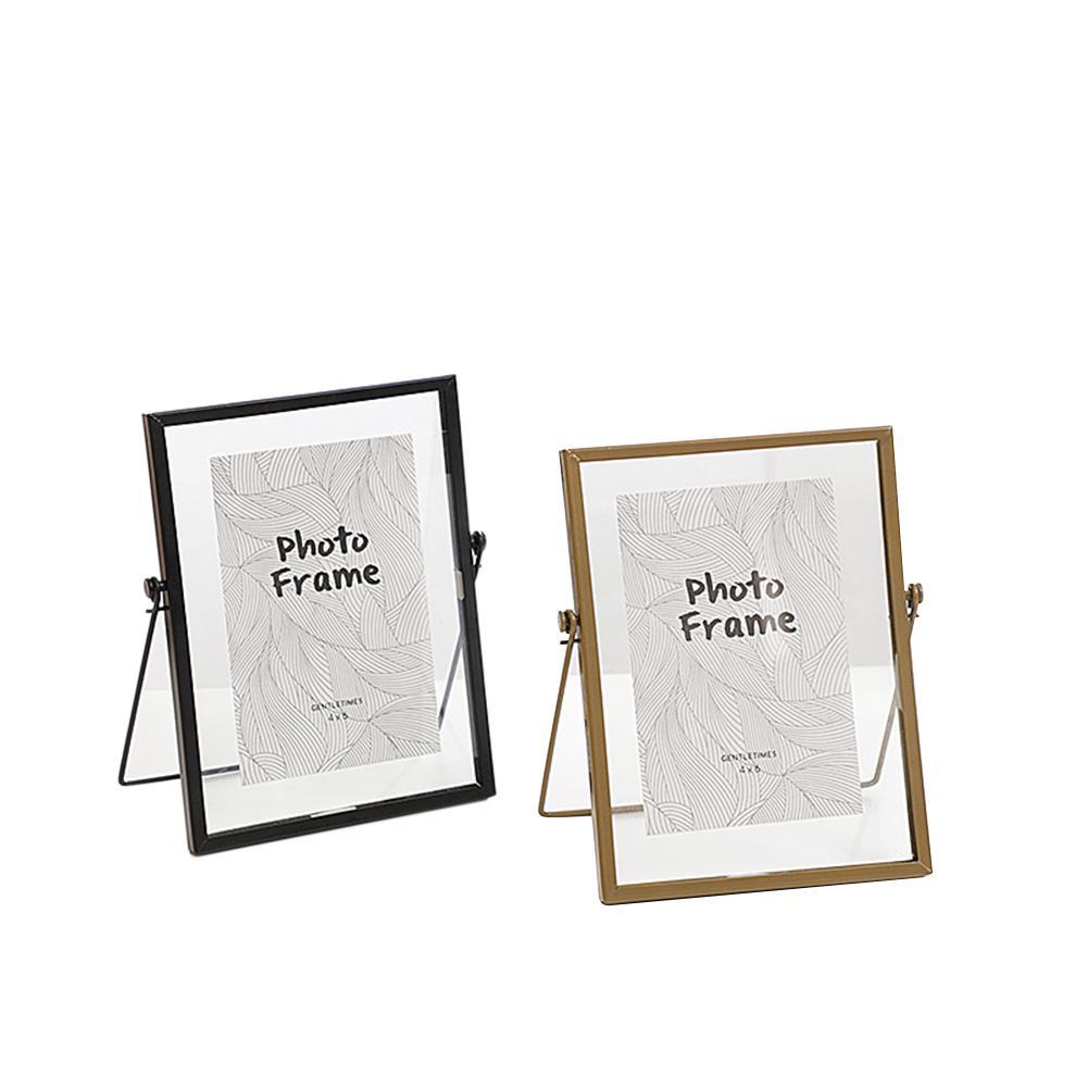 Marco de cristal de Metal de 6 pulgadas creativo moderno Carpeta de muestra de planta marco de foto de cristal decoración de la habitación del hogar marco de fotos de boda