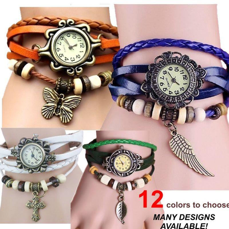 20pcs Gnova Platinum indian ethnic Leather Bracelets Watch butterfly leaf eiifel starfish charm Vintage wristwatch wholesale LOT