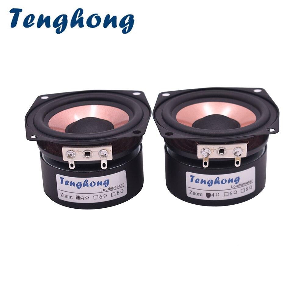 Tenghong 2 pces 2.5 Polegada alto-falante de áudio de alta fidelidade 4/8ohm 8-15 w gama completa desktop alta sensibilidade baixo midrange agudos alto-falante diy