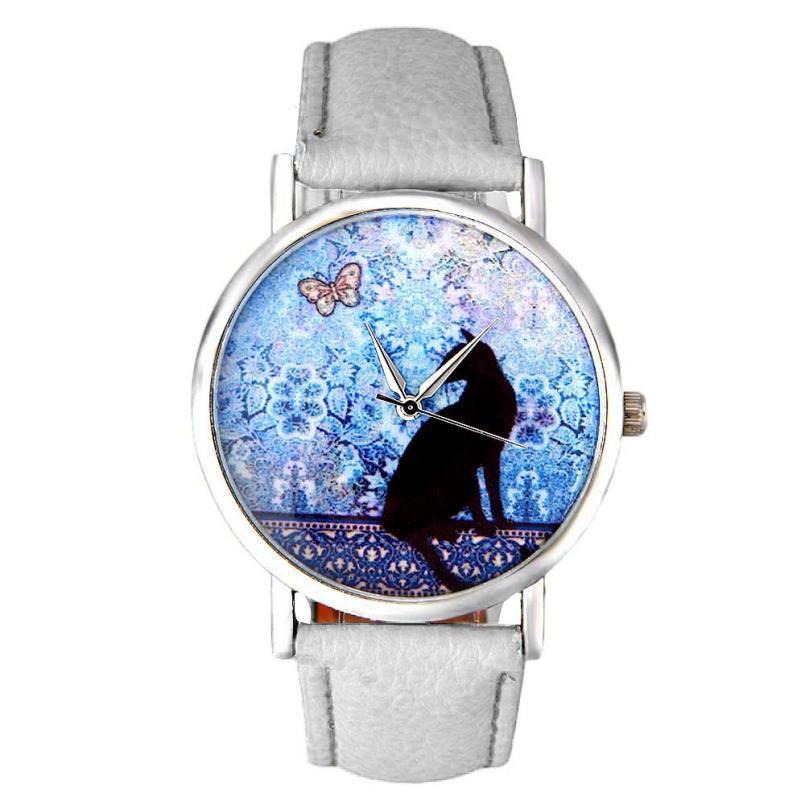 Überlegene Frauen Katze Muster Pu-lederband Quarz-armbanduhr Uhr Sep8