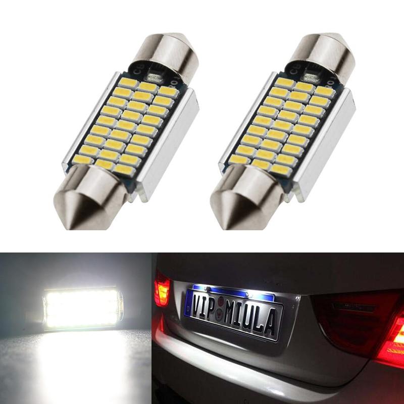 2x Dome Festoon 3014SMD Error free Bright White LED License Plate Light For BMW E36 E39 E46 E90 E91 E92 E53 E60 E65 E71