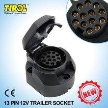 TIROL-douille de remorque européenne 12V   Connecteur de remorque à 13 broches noir givré en matériaux ABS T22807b adaptateur de remorquage de barre de remorquage