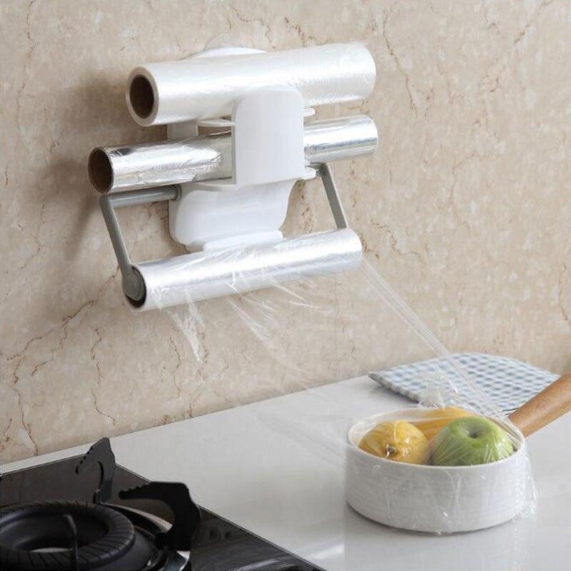 New Plastic Refrigerator Cling Film Storage Rack Wrap Cutter Wall Hanging Paper Towel Holder Kitchen Organizer Paper Holder Rack