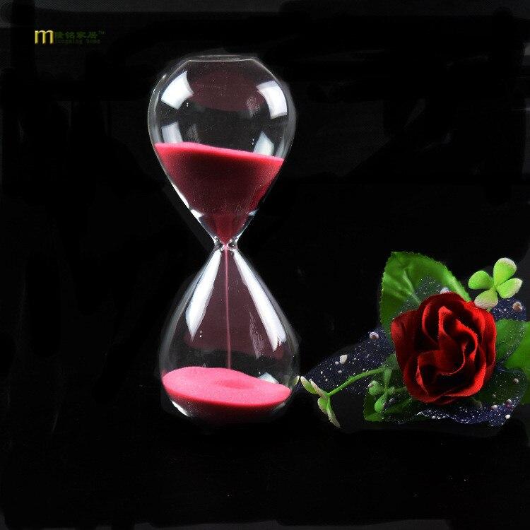 1 pieza de cristal de estilo a la moda 5 minutos reloj de arena contador de tiempo contador temporizador reloj de arena decoración del hogar 11 colores JY 1189-2