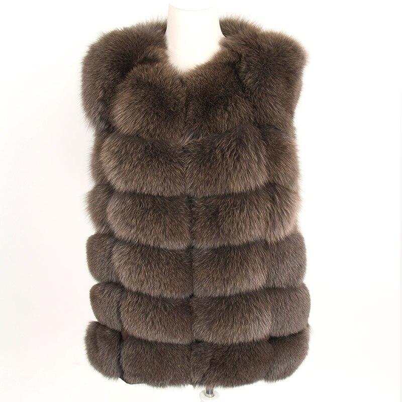 Abrigo de piel auténtica de zorro maomaokong de 70 cm, chaleco de piel de Invierno para mujer, abrigo corto de piel fina Natural Real, chaqueta de piel real