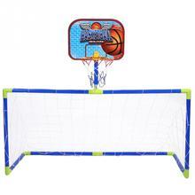 Kids Basketball Indoor Outdoor Plastic Mini Basketball Hoop Soccer System Backboard Football Guard Balls Kit Children Toy