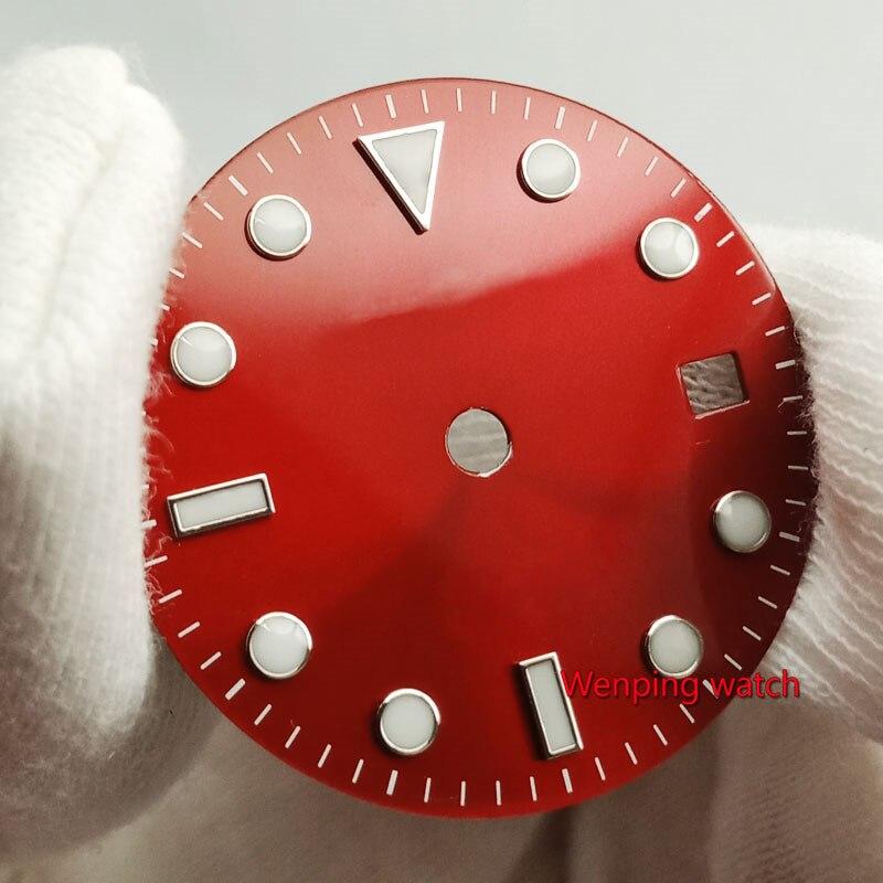 Bliger 28.5 ミリメートルなしロゴ発光日付ウィンドウ赤腕時計ダイヤルフィット eta 2824 2836 miyota 8215 821A Mingzhu DG2813 自動運動
