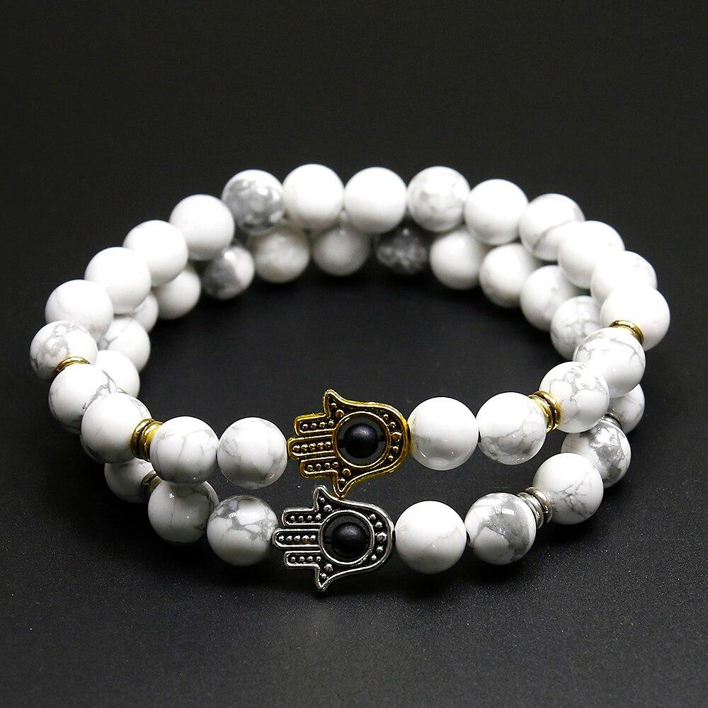 Joyas recién llegadas 8mm cuentas de howlita Natural blanca pulsera de perlas de piedra Turquía Palm joyería de las mujeres de Yoga pulseras para hombres