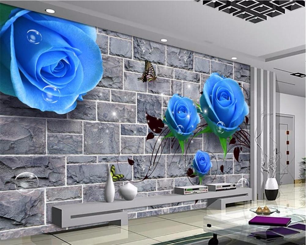 Настенные 3D обои HD с изображением синей розы и кирпичной стены фоновые для