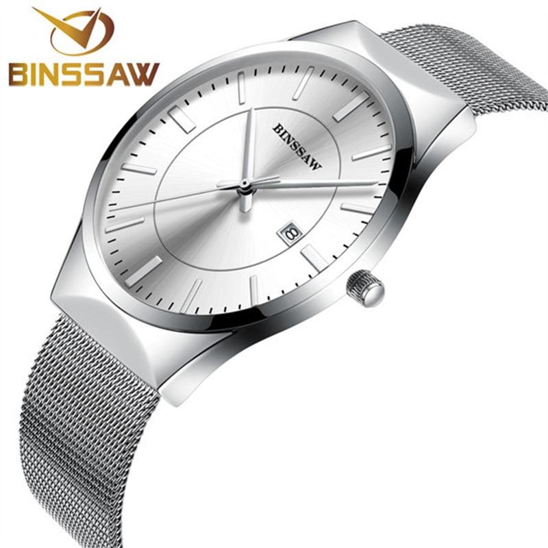 BINSSAW Top Luxury Brand Quartz Watch Men Male Clock Business Wrist Watch Mesh Stainless Steel Fashion Watches relogio masculino