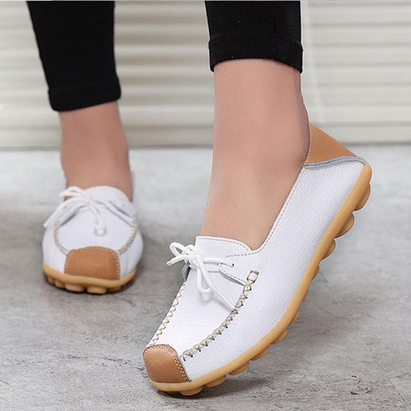 Zapatos planos de talla grande para mujer, zapatos planos de 42 de piel auténtica, mocasines informales, mocasines de piel sin cordones para mujer, alpargatas para mujer