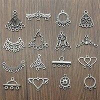 20pcs antique silver color earrings connection charms jewelry diy earrings connector charms for earring making