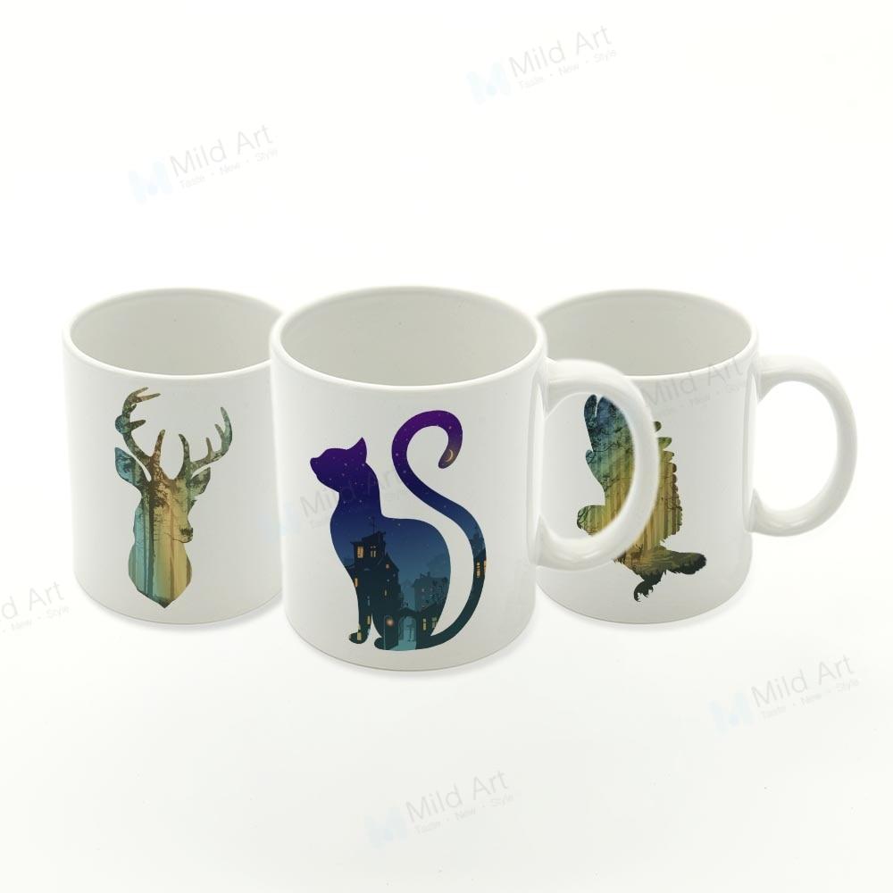 Set de tazas de agua de cerámica de estilo nórdico con animales salvajes, peces, ciervos, cabeza, gato, León, cocina, regalo creativo para el hogar, tazas de café, té, cerveza