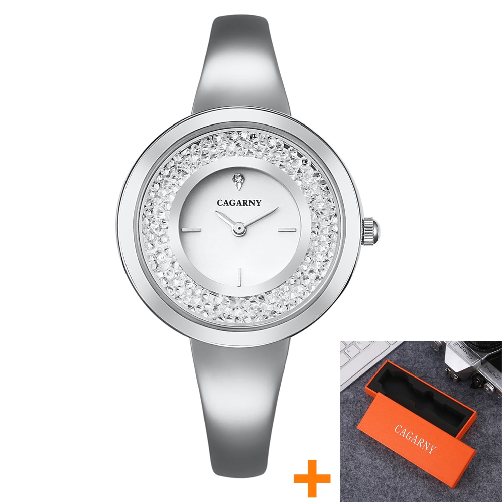 Cagarny Luxury Brand Women's Watches Crystal Rose Gold Steel Bracelet Bangle Fashion Ladies Wristwatches Quartz Watch For Women enlarge
