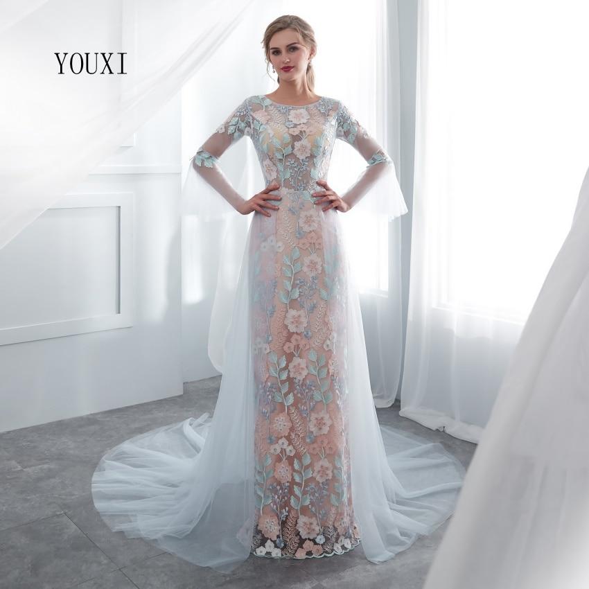 Floral Lace Long Sleeve Prom Dresses 2019 YOUXI New Arrival A-line Blue Long Evening Gowns Vestido De Formatura
