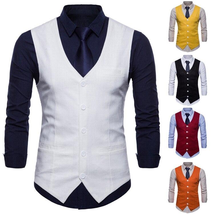 Мужской жилет, официальная куртка без рукавов, Мужской приталенный деловой жилет, мужской костюм без рукавов, куртка, мужской жилет карамел...