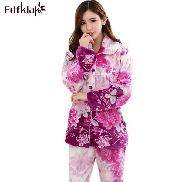Fdfklak, Pijama para mujer, Conjunto de Pijama de lanilla impresa para invierno, Conjunto de Pijama familiar, traje cálido para mujer, de talla grande L XL XXL 3XL Q516