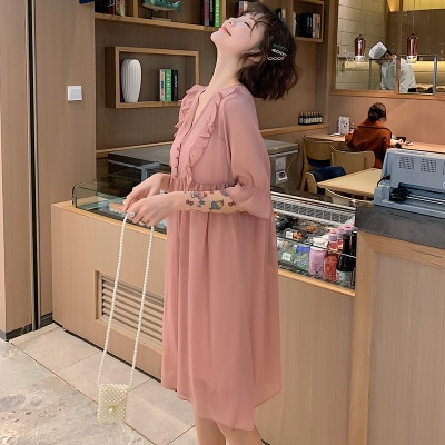 clothes for pregnant women Pregnant maternity Nursing clothes dress lace Blended Short Sleeve Maternity Dress Mother Clothing enlarge