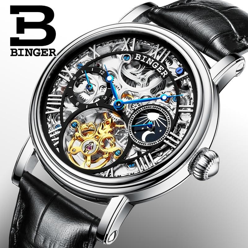 Suiza BINGER relojes de los hombres de la marca de lujo de Tourbillon reloj Masculino resistente al agua esqueleto reloj mecánico B-1171-3
