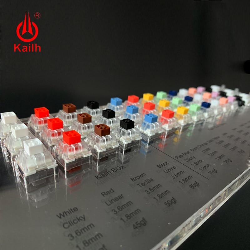 Caja Kailh, probador de interruptores de Teclado mecánico de 45 teclas, translúcido, claro juego de teclas para herramienta de prueba de tapas de Sampler Kailh MX
