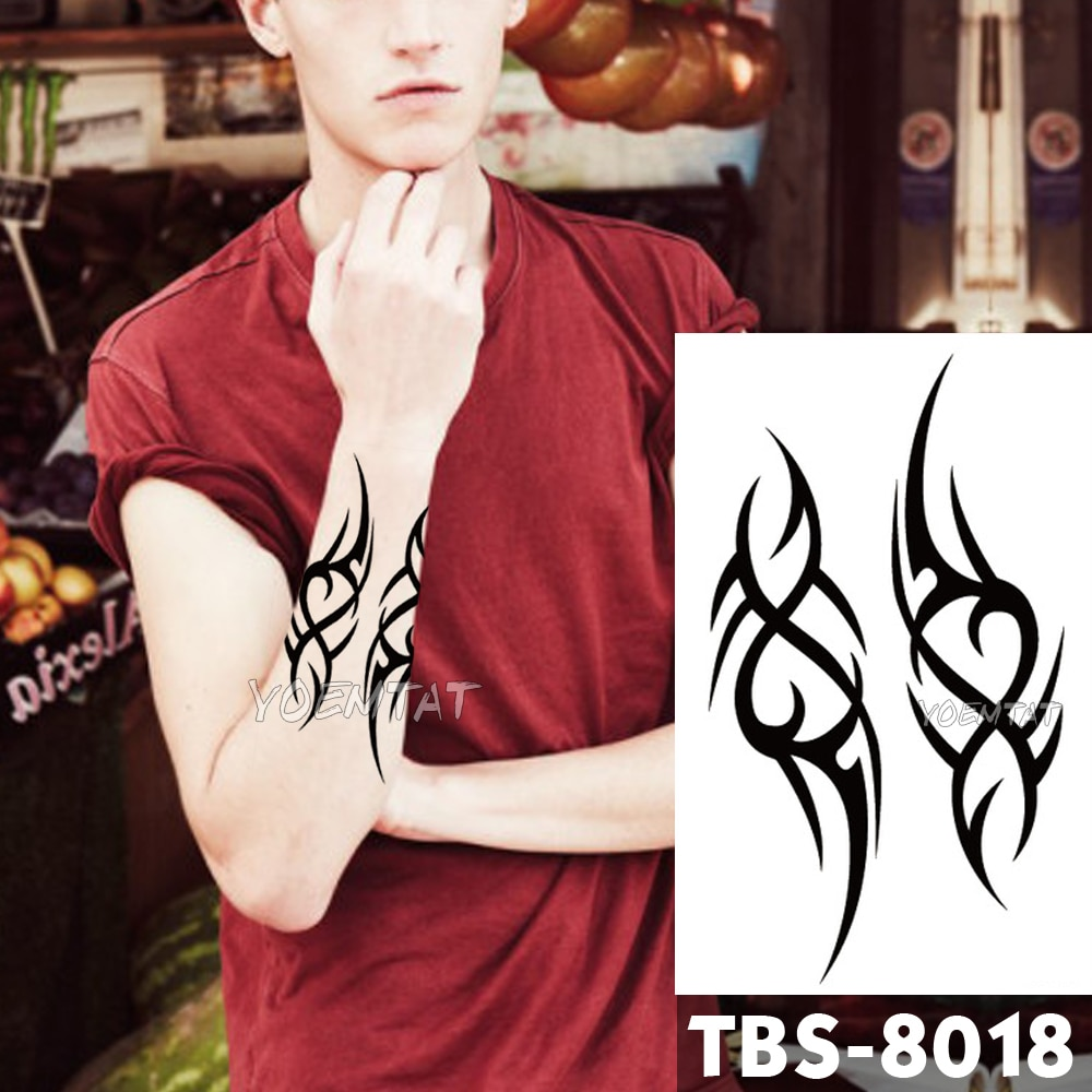 12x19cm tatuajes temporales a prueba de agua moderna llama Flash tatuaje pegatina tradicional Tribal Totem tatuo DIY brazo falso tatuaje los hombres