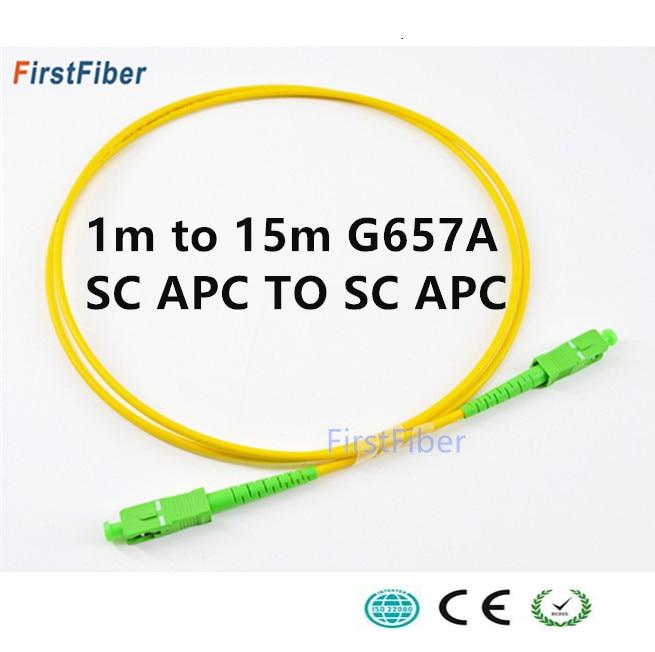 Cabo de fibra óptica Patch cord SC APC cabo Fiber Patch 5m 2.0 milímetros PVC G657A, SM Simplex Jumper de fibra Óptica FTTH Cabo 1m 2m 3m 10m 15m