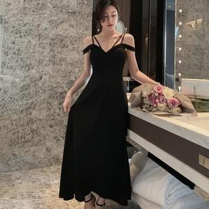 High-end Women Dresses Summer 2019 Black V Neck Spaghetti Strap Maxi Dress Bandage Sexy Party Dress Elegant Woman Vestidos