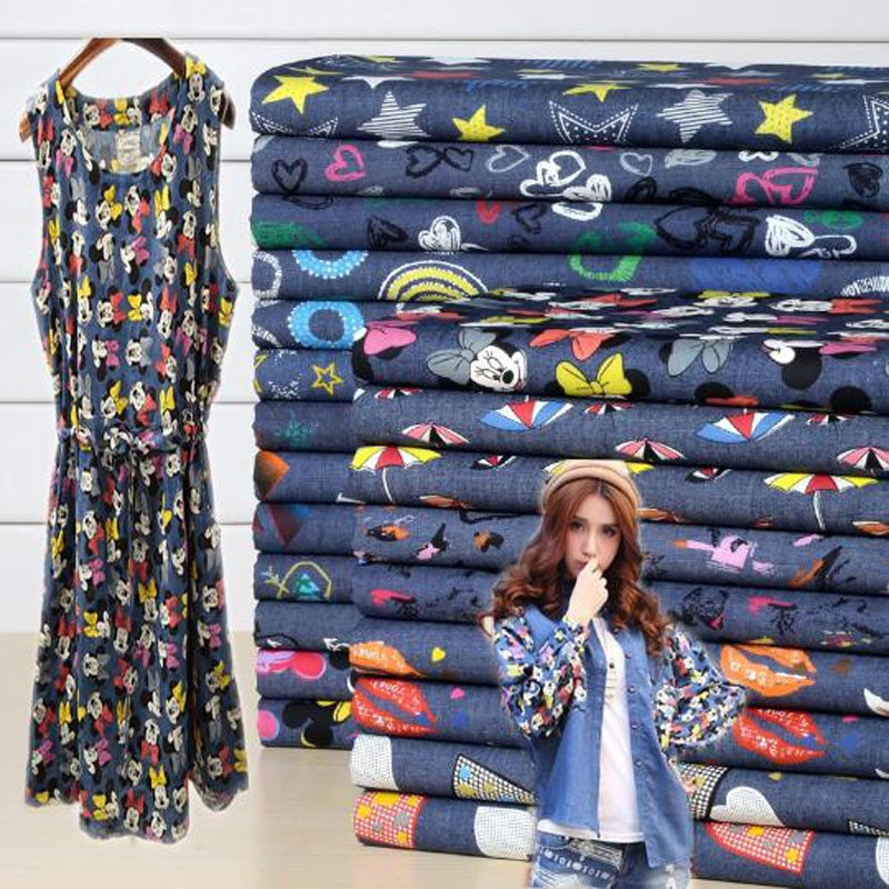 140x100cm 1pcs Denim Fabric Cotton Meter Thin Soft Cotton Denim Fabric Print Mickey Star DIY Sewing Dress Clothing Free Shipping