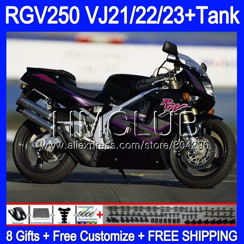 + Tanque para SUZUKI VJ21 Stock negro RGV250 88 89 90 91 92 93 39HM.15 RGV-250 VJ22 RGV 250, 1988, 1989, 1990, 1991, 1992, 1993 carenado
