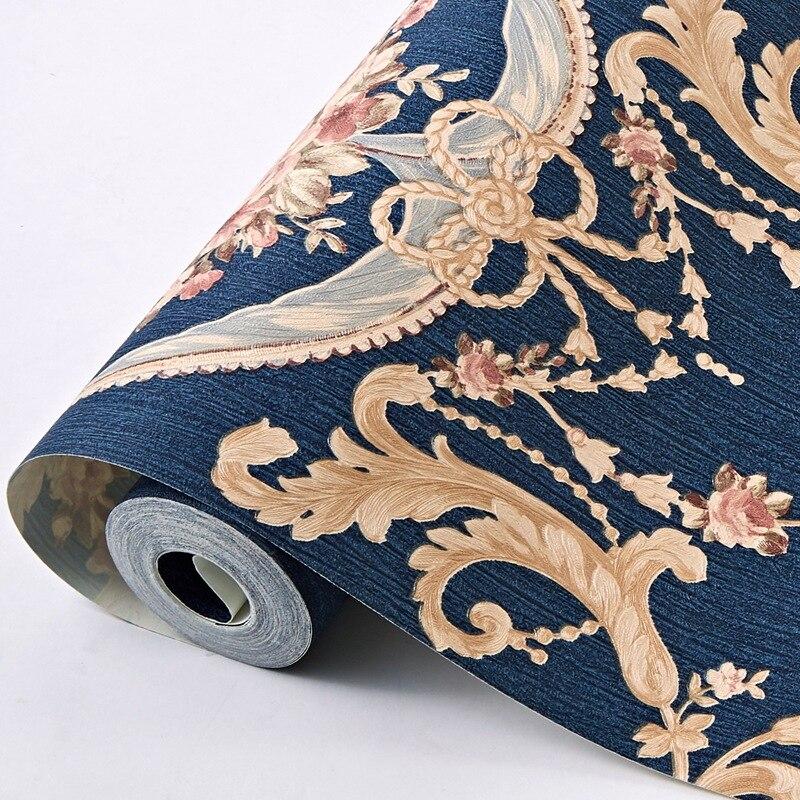 Rollo de papel de pared de lujo Floral 3D de estilo europeo impermeable PVC Wallpers Strip para paredes de dormitorio Wallcovering AB Versión 4 colores