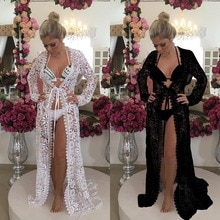 2019 encaje Crochet Hollow Beach vestido mujeres Bikini cubrir Pareo Playa traje De baño De encaje Beach Cover-ups túnica De Plage Femme