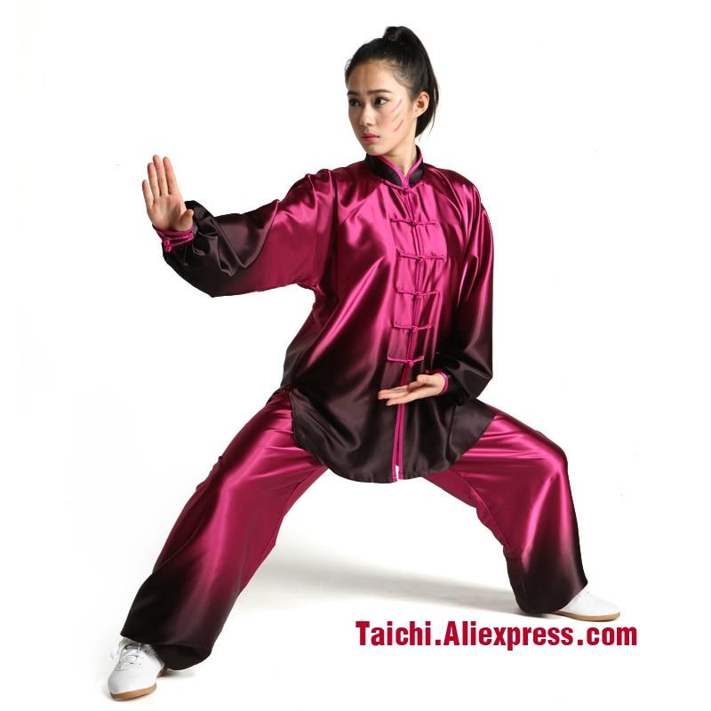 Ropa de Kung Fu manga larga Ropa de Tai Chi color degradado traje y Taijiquan artes marciales ropa Uniforme Kung Fu