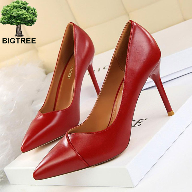 BIGTREE Show Thin Women's Office Shoes New Concise PU Leather Women Pumps Pointed Toe Shallow Fashion High Heels Shoes