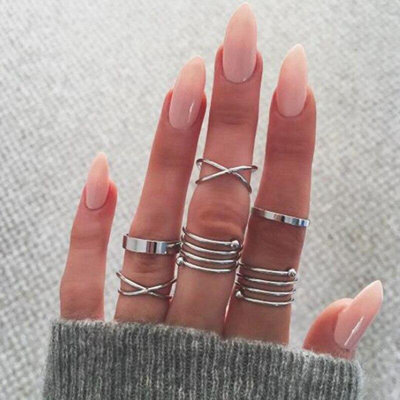 6 unids/set de anillos para mujer, anillos para articulaciones Retro exageradas para mujeres, anillo cruzado entre primavera, anillo único, anillos para mujeres