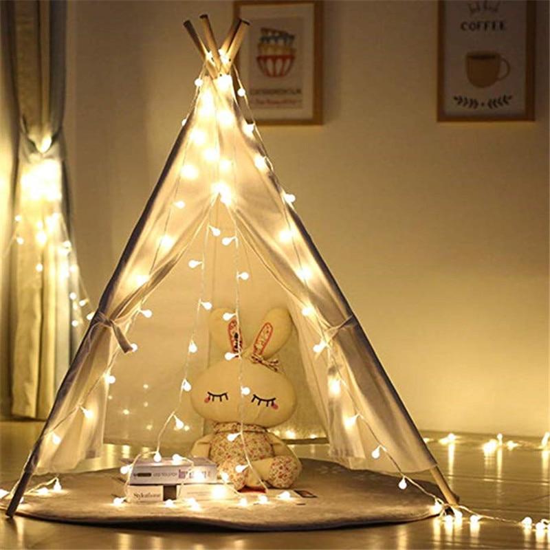 3 M/5 M/10 M LED Ball Luz Cordas Garland Xmas Quente USB 5 V Bateria Operado luzes de fadas Para Festa Do Casamento Da Árvore de Natal Decoração