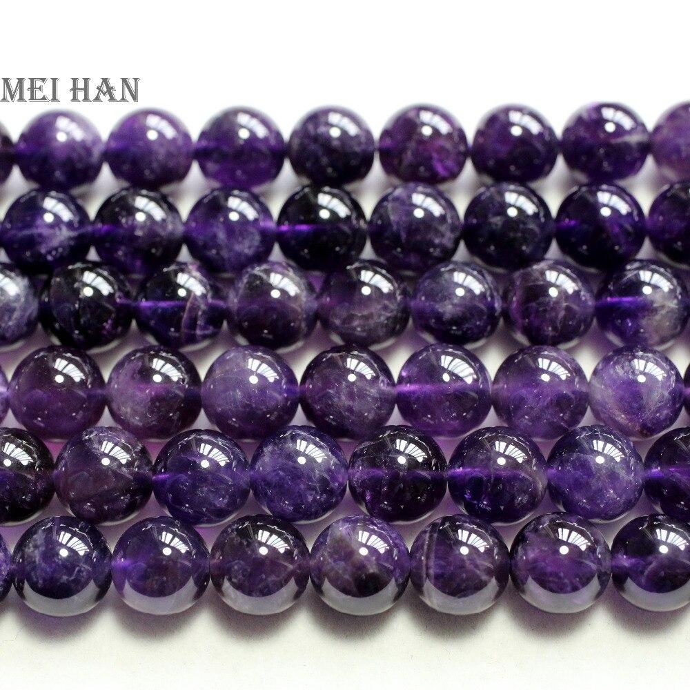Meihan-perles rondes, améthyste naturelle (2 brins/ensemble), 10mm, pierres précieuses rondes, pour la conception ou le cadeau de bijoux