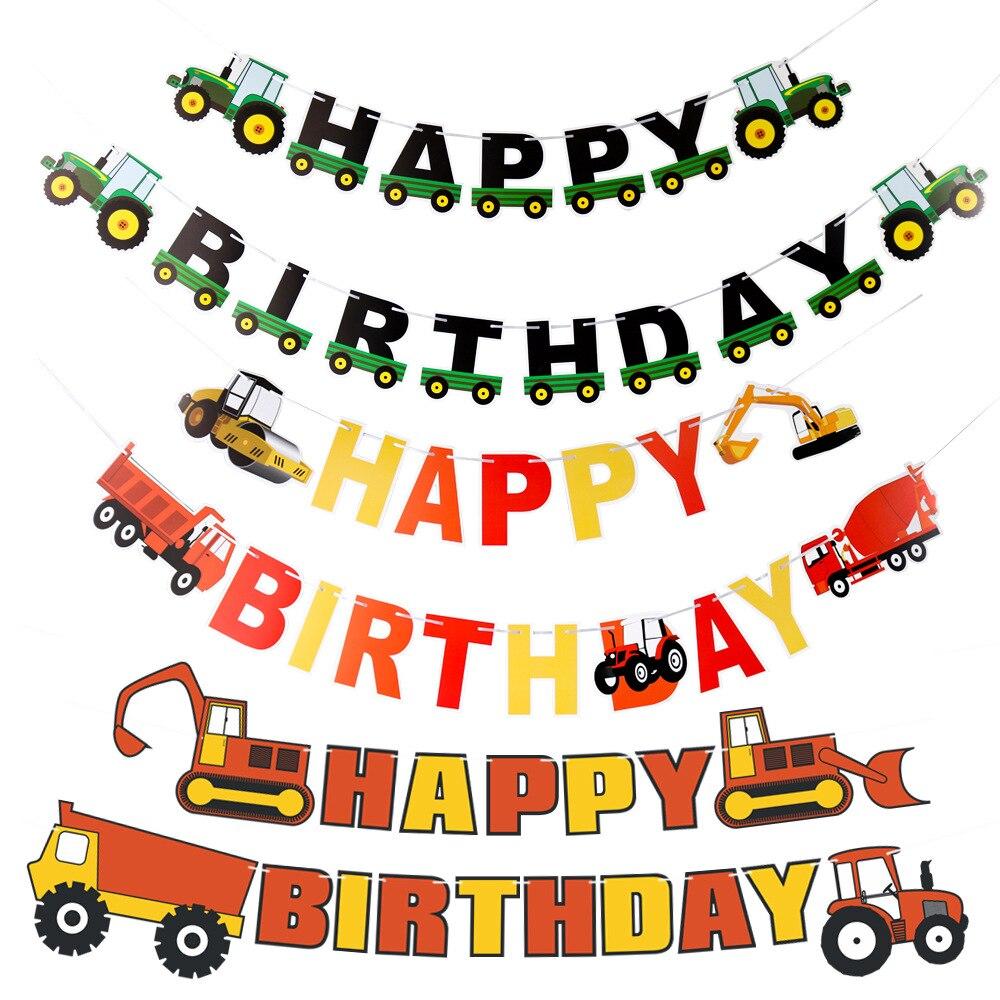 Cartel de Feliz Cumpleaños de coche de juguete de ingeniería con tema de granja, decoración para Tartas, vajilla para niños, juego de fiesta favorito, suministros de decoración