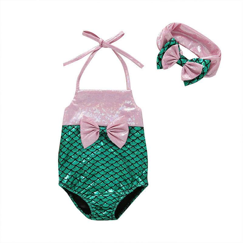 3-24 M bebé niñas lentejuelas traje de correa de pescado Escala de patrón de Patchwork sin respaldo arco sin mangas abrigos + lindo diadema de verano