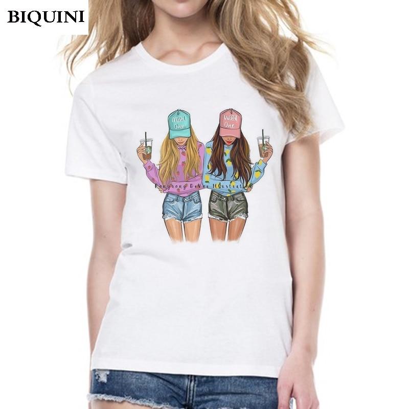 The Best Friend BFF T-shirts for Women Wild and Mild Girl Print Harajuku Kawaii Tumblr Korean Clothing 2019 Tops Female T-shirt
