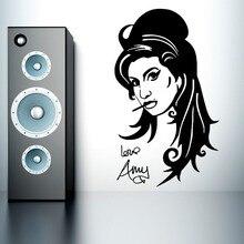 Beautiful Salon Girl Home Decorative Wall Sticker Amy Winehouse Vinyl Wall Sticker Pretty Girl Art Wall Mural Y-839