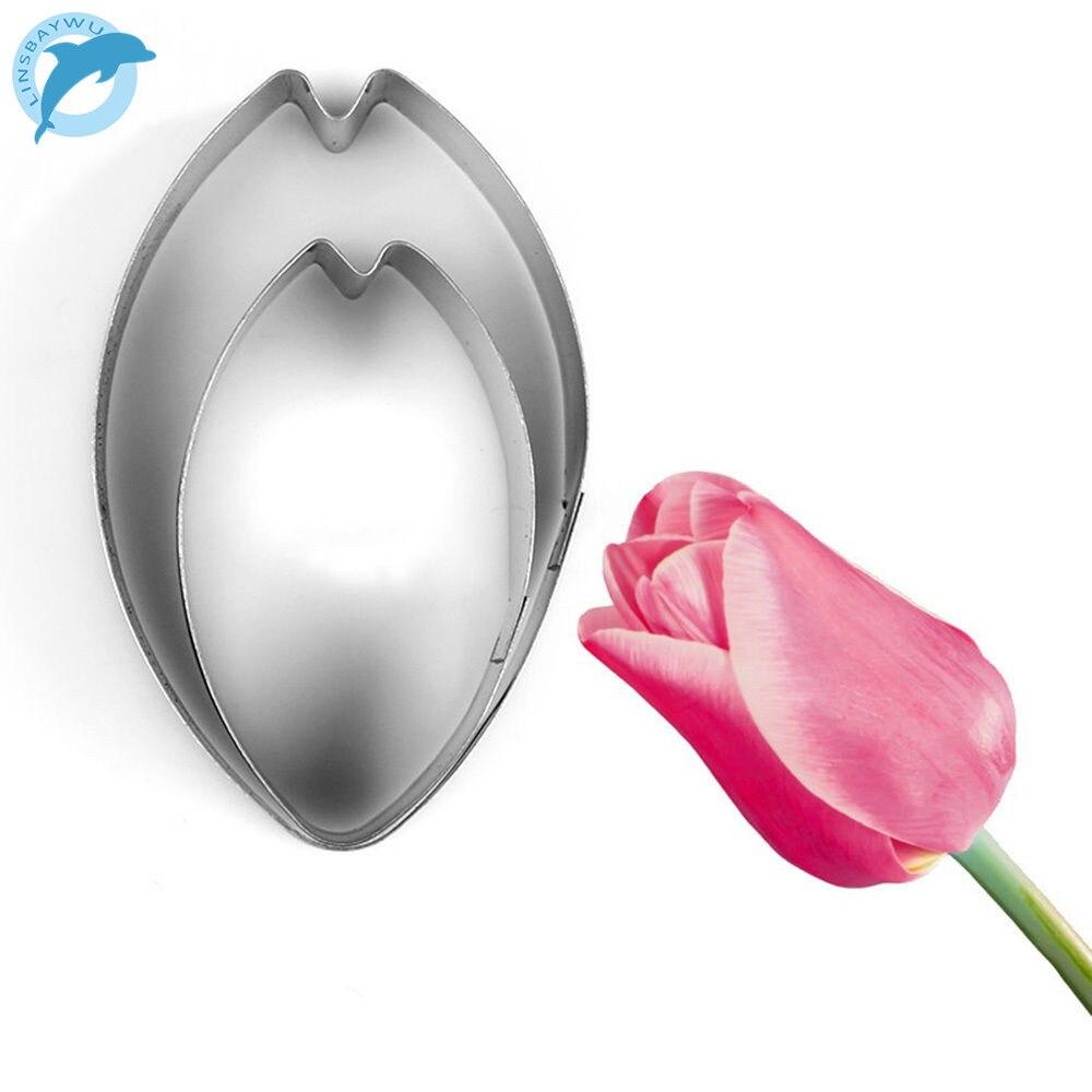 LINSBAYWU2pcs/set pétalo de tulipán cortador de galletas para hacer flores herramientas de decoración de pasteles Fondant Cupcake molde galleta hornear galletas herramientas