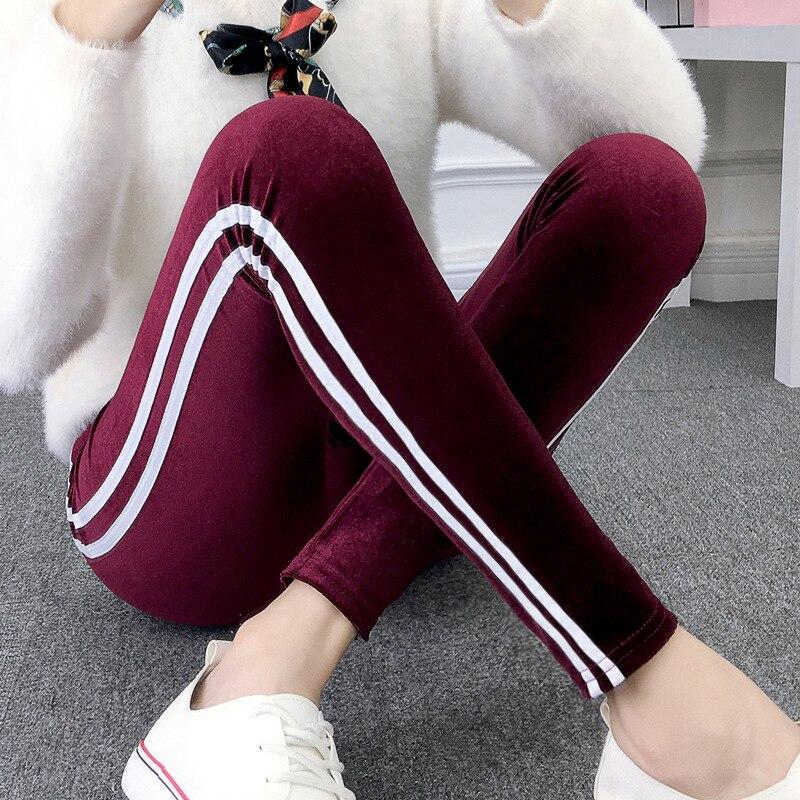 2018 de oro otoño polainas de terciopelo de invierno Slim mujeres casuales Leggings pantalones elásticos de tubo mujer Sexy polainas para Fitness