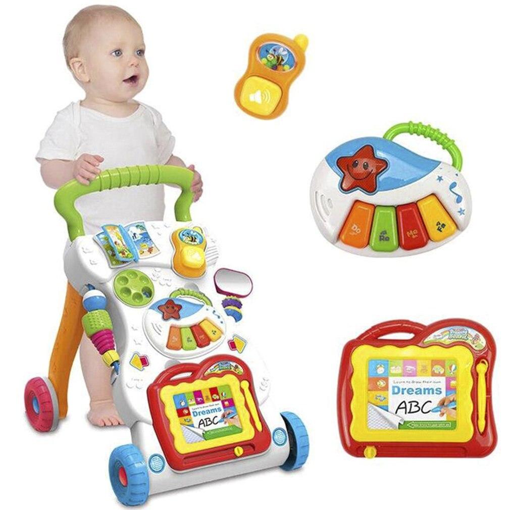 Andador Bebé Primeros Pasos Coche Carro Del Niño Sentarse y Pararse Andador para Niños Aprendizaje Temprano Educación Musical Ajustable H