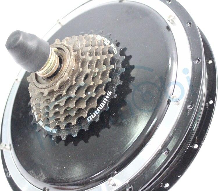 Potente bicicleta eléctrica sin escobillas de 36V, 48V, 500W y 350 RPM, Motor de cubo de bicicleta de CC sin engranajes para rueda de bicicleta eléctrica trasera de 7 velocidades