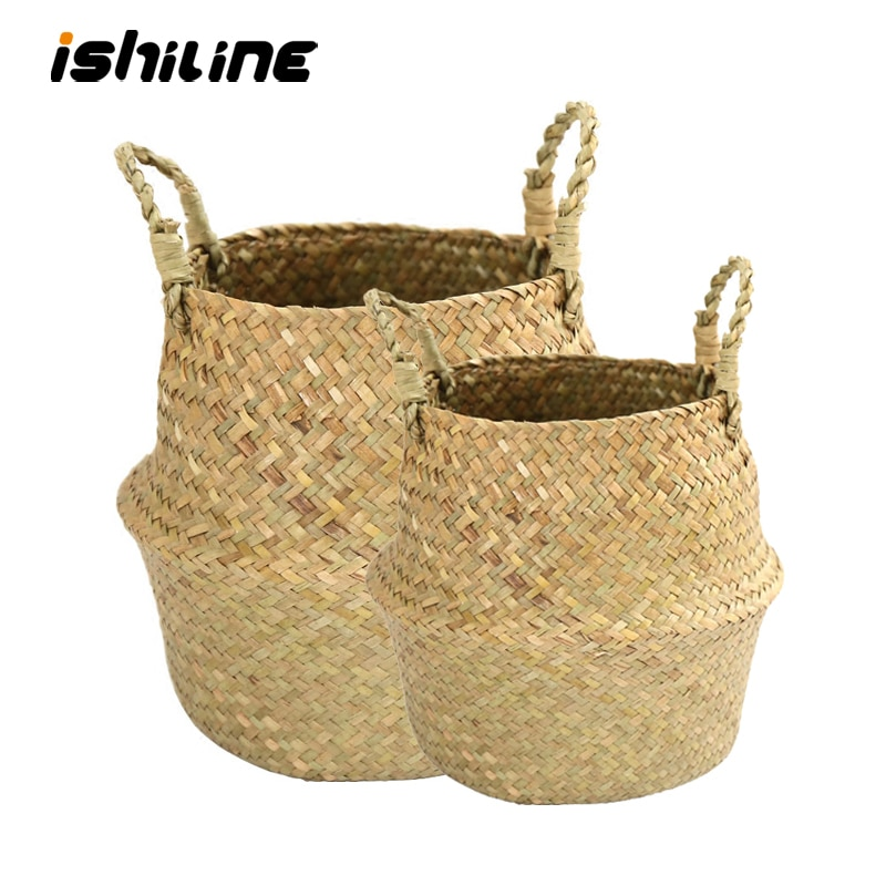 Handmade Bamboo Storage Basket Folding Clthoes Laundry Basket Straw Wicker Rattan Seagrass Belly Gar