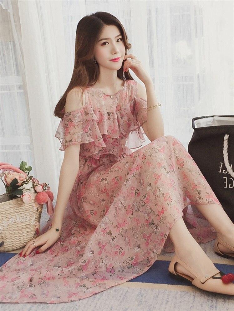 Verano de manga corta volantes collar postparto mujeres lactancia vestido de gasa floral vestido de enfermería de alta cintura vestido largo Suelto