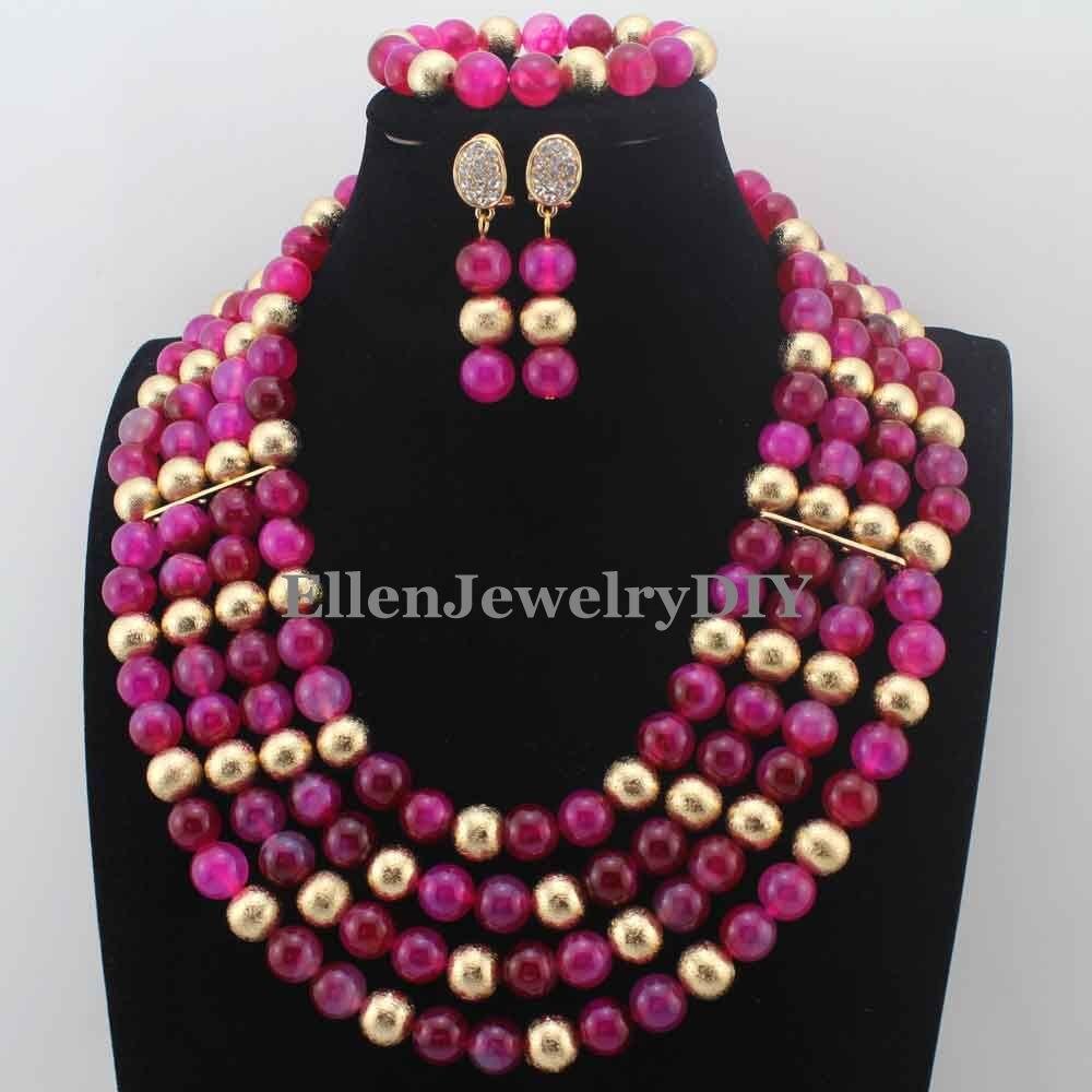 Increíble collar nigeriano de boda fucsia, collar de cuentas de ágata rosa, juego de bolas de anillo, conjunto de joyas de cuentas africanas, envío gratuito W13720