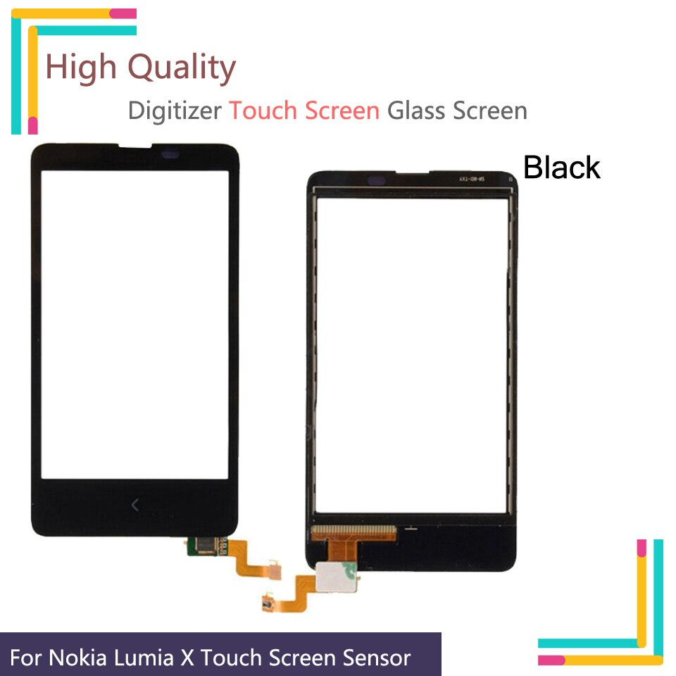 10 unids/lote para Nokia X Dual SIM A110 RM-980 pantalla táctil Panel táctil digitalizador cristal frontal lente exterior pantalla táctil NO LCD